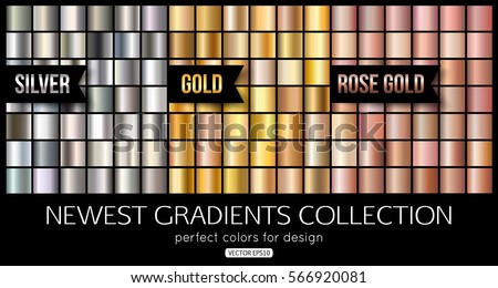 Set of rose gold silver gradients, texture. Vector illustration Royalty-Free Stock Photo #566920081