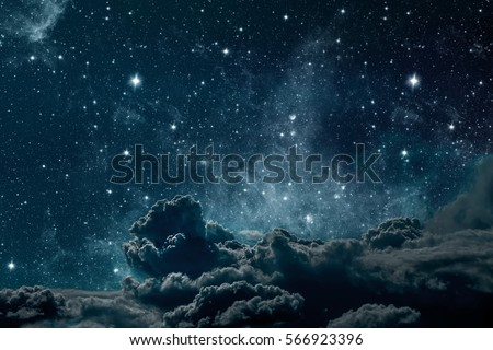 backgrounds night sky with stars and moon and clouds. wood. Elements of this image furnished by NASA Royalty-Free Stock Photo #566923396