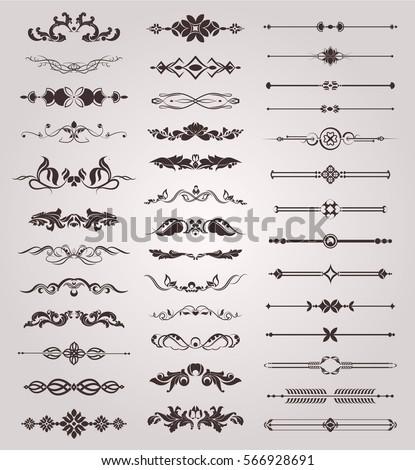 Vector set of vintage decorative elements for design #566928691