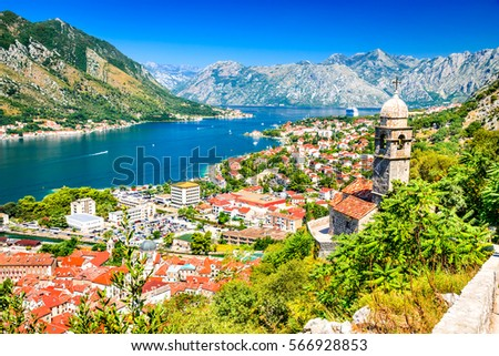 Kotor, Montenegro. Bay of Kotor bay is one of the most beautiful places on Adriatic Sea, it boasts the preserved Venetian fortress, old tiny villages, medieval towns and scenic mountains. #566928853