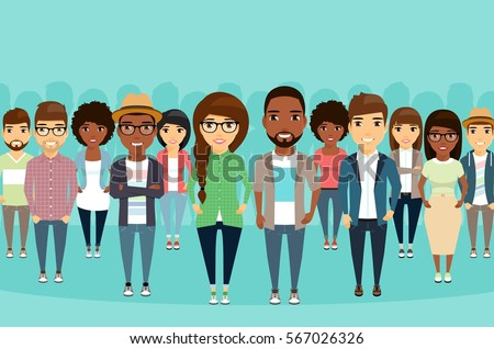 Big crowd diverse ethnic. Young people are standing shoulder to shoulder with each other. Different styles of clothing and hairstyles. Happy people.
