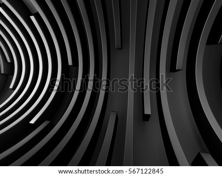 Abstract shining black hole tunnel background. 3d render illustration #567122845