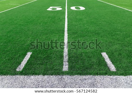 American football field with yard lines #567124582