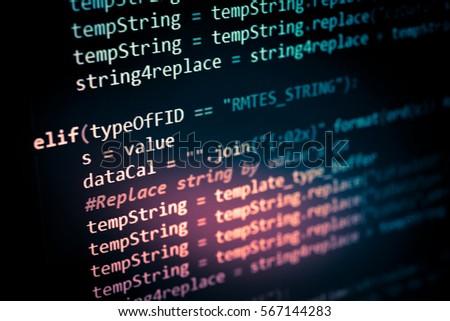 Software developer programming code. Abstract computer script code. Programming code screen of software developer. Software Programming Work Time.  #567144283