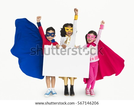Superhero Kid Smiling Arms Raised Banner Copy Space