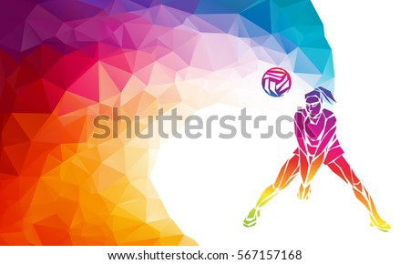 Creative silhouette of volleyball player receiving a ball. Beach sport, colorful vector illustration or banner template in trendy abstract colorful polygon geometric style and rainbow back