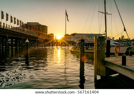Sunset at the darling harbour Royalty-Free Stock Photo #567161404