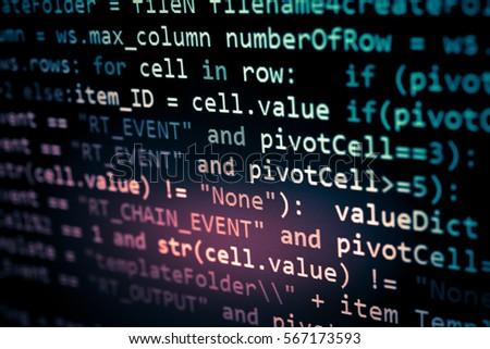 Software developer programming code. Abstract computer script code. Programming code screen of software developer. Software Programming Work Time.  #567173593