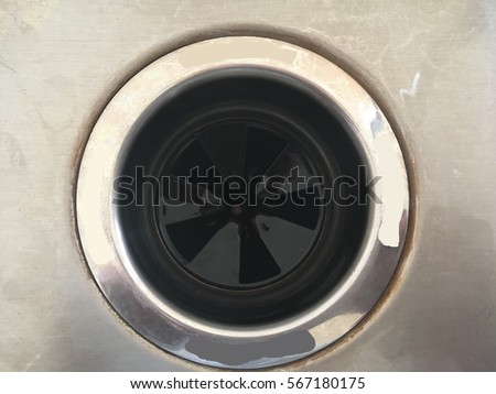 Waste disposal plug hole in a kitchen sink #567180175