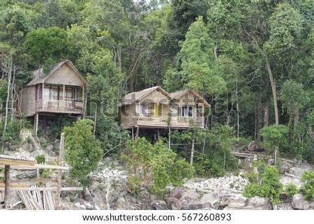 KOHRONG SAMLOEM ISLAND, CAMBODIA - JAN 24, 2017. Bungalow on Koh Rong Samloem island, Cambodia. #567260893