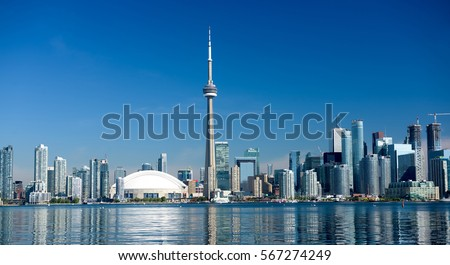 Toronto city skyline on clear sunny day, Ontario, Canada