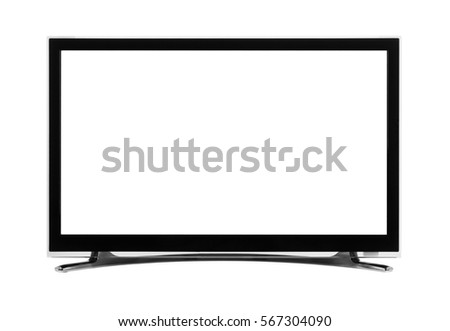 Windescreen led or lcd internet tv monitor isolated on white background #567304090