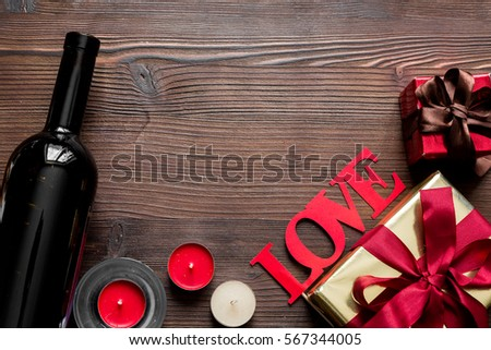 concept Valentine Day love wooden background top view mock up #567344005