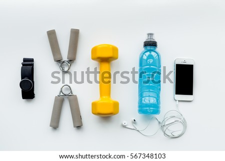 concept preparing to fitness sports equipment top view mock up #567348103