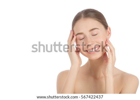 Woman with a natural beauty makeup look - isolated over a white background #567422437