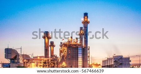 Glow light of petrochemical industry on sunset and Twilight sky ,Power plant,Energy power station area #567466639