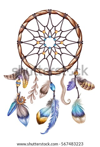watercolor illustration, boho feather dream catcher, spring easter clip art, tribal design, isolated on white background