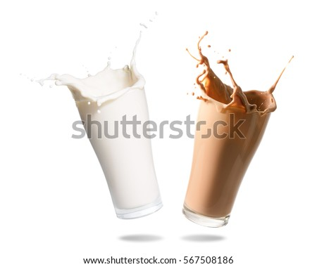 Milk and chocolate milk splashing out of glass., Isolated white background. #567508186