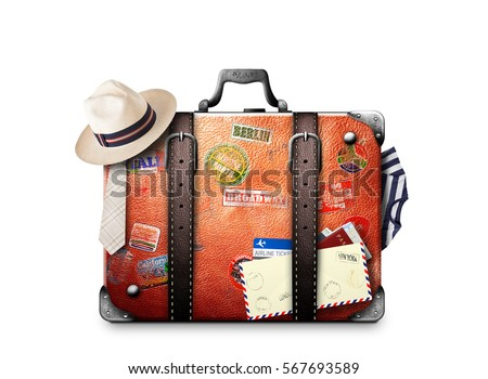 Retro suitcase of a traveler with travel stickers Royalty-Free Stock Photo #567693589
