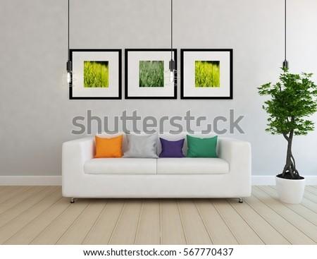 white room with a sofa. Living room interior. Scandinavian interior design. 3d illustration #567770437
