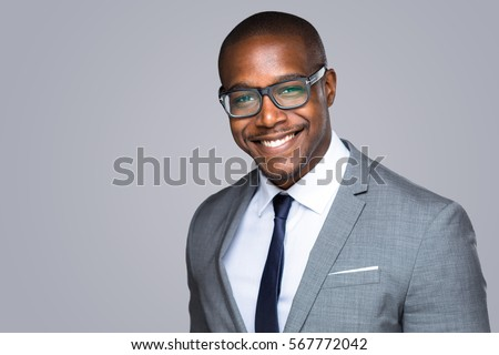 Headshot of successful smiling cheerful african american businessman executive stylish company leader #567772042