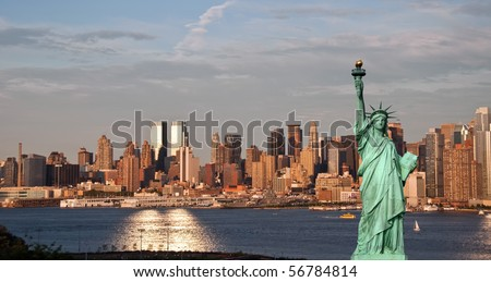 new york cityscape tourism concept photograph with Manhattan midtown skyline. new york statue of liberty against a new york city skyline over the hudson river. beautiful nyc city skyline. #56784814