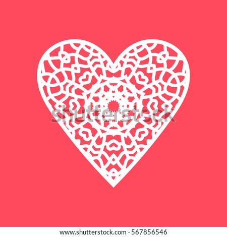 Vector illustration. Heart. Image suitable for laser cutting, plotter cutting or printing. #567856546
