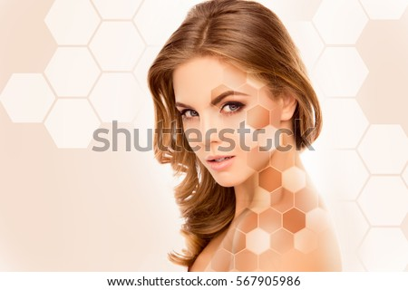 Young pretty woman face with different tones of skin. #567905986