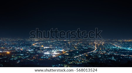 aerial view, night city view with night sky.  natural winter night view in Thailand
