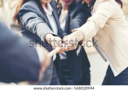 Teamwork Shake Hands Partnership Concept. #568028944