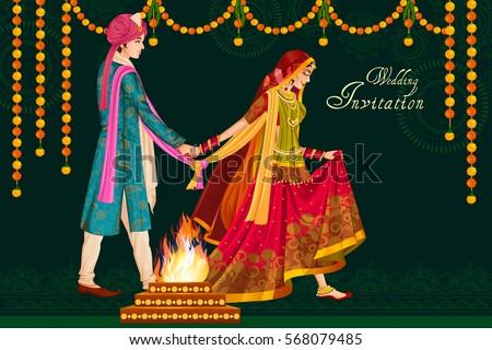 Vector design of Indian couple in wedding Satphera ceremony of India Royalty-Free Stock Photo #568079485
