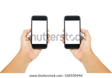 Phone on hand di - cut on white background , Clipping - path  #568100446