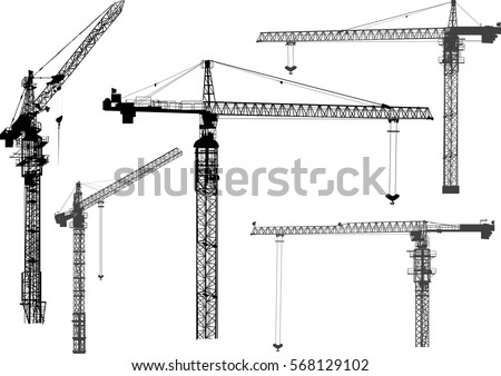 illustration with building cranes isolated on white background Royalty-Free Stock Photo #568129102