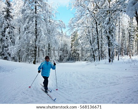 Czech Republic-skier in forest near Trutnov #568136671
