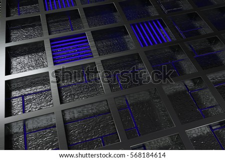 Futuristic technological or industrial background made from brushed metal grate with glowing lines and elements. Abstract background. 3D rendering illustration. #568184614