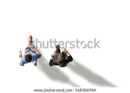 Top view of fitness female and male running #568306984