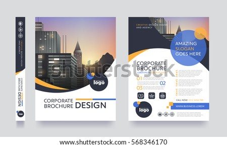 poster flyer pamphlet brochure cover design layout space for photo background, vector illustration template in A4 size Royalty-Free Stock Photo #568346170