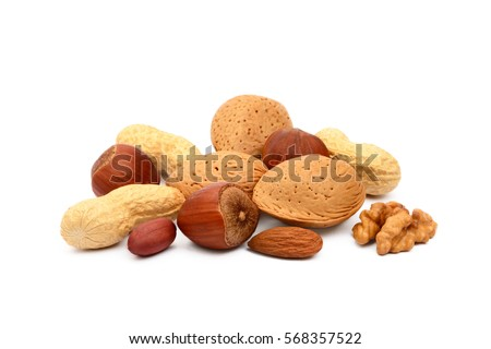Mixed nuts isolated on white background Royalty-Free Stock Photo #568357522