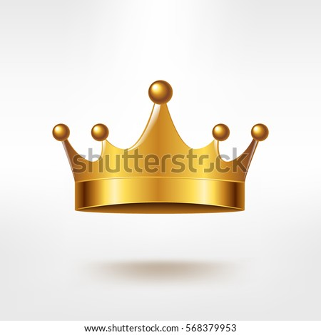Golden Crown, With Gradient Mesh, Vector Illustration
