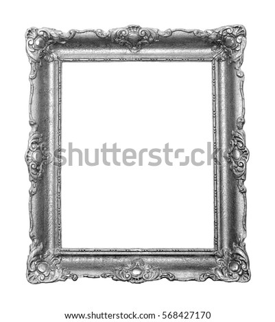 Beautiful vintage silver color frame for paintings decorated with carvings and ornaments.