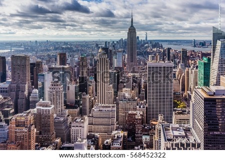 New York, USA, October 18, 2016: Manhattan skyline aerial panorama between the two waterfronts #568452322