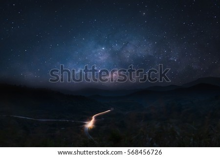 Milky Way galaxy, Long exposure photograph, with grain,noise #568456726