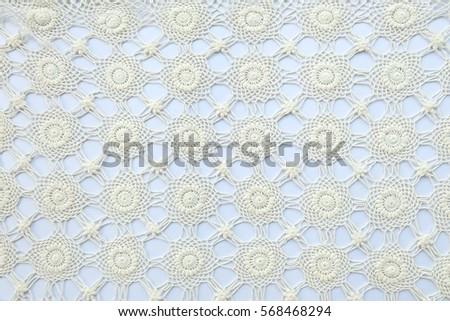 Handmade lace on white background #568468294