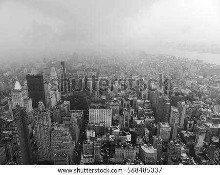 New York City, Manhattan, New York, USA, America. 15 July 2015. NYC from the sky - dramatic black and white picture showing buildings and sky scrapers - Could be used as a background