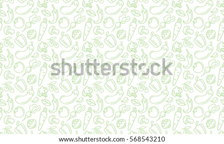 Vegetables and fruits Seamless hand drawn doodle pattern. Illustration for backgrounds, card, posters, banners, textile prints, cover, web design. Eat healthy. Vector icons. Royalty-Free Stock Photo #568543210