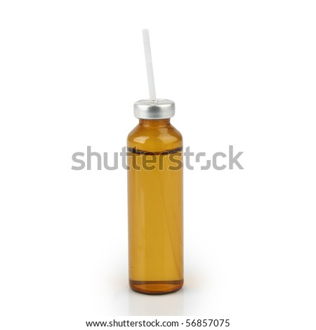 Medicine bottles and straws isolated on green background #56857075