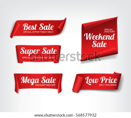 A set of red paper sale banners. Vector illustration. #568577932