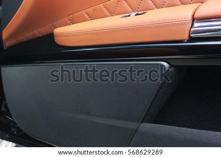 Car interior luxury service. Car interior details. Car speakers #568629289