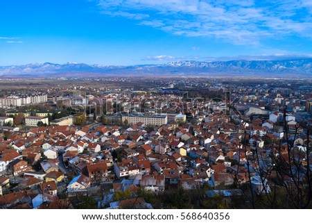 View to Strumica (Strumitsa) town in Macedonia. Panorama. Balkan landscape #568640356