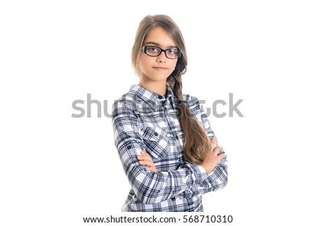 Girl teenager with long hair wearing a school shirt and glasses. Beautiful schoolgirl is on a white background. Space for text, white background, portrait. girl in glasses